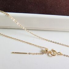 """Au750 18K Yellow Gold Necklace Women O Chain Link Adjustable 18""""L"""