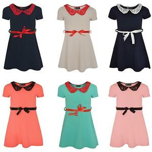 Girls Lace Collar Skater Dress Short Sleeve Textured Kids Top Party Skirt 1-14 Y