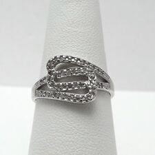 New Sterling Silver Natural Diamond Band Ring Sz 7