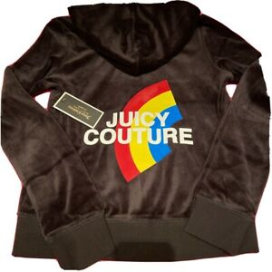 Juicy Couture Black Label Black Rainbow Graphic Zip Up Hoodie S