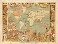 MAPS BRITISH EMPIRE 1886 IMPERIAL ILLUSTRATED PEOPLE WORLD POSTERPRINT BB8103B