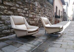 Mid century Pair Lounge chairs Marco Zanuso Gio Ponti italy 1955s
