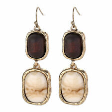 Stylish Women Faux Turquoise Wood Bead Drop Dangle Earrings Party Jewelry Gift