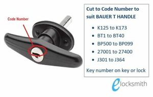 Keys Cut To Code - to suit BAUER T HANDLE - Suits ARB  Flexiglass Canopy Lock