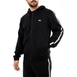 LACOSTE Mens Sport Taped Hoodie (Black)