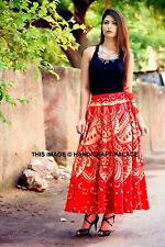 Red Gold Ombre Mandala Cotton Casual Skirt Women Long Skirt Indian Wrap Around