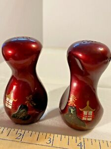 Vintage Asian Japanese Twisted Lacquer Salt & Pepper Set Rubber Stop SKU 046-039