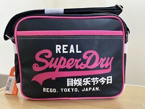 Superdry Mash Up Mini Alumni Bag - Navy/Fluro Pink BNWT - M0088