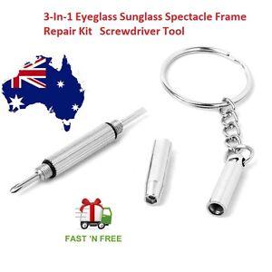 3-In-1 Eyeglass Sunglass Spectacle Frame Repair Kit Screwdriver Tool Portable