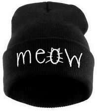 Winter Outdoor Sports Knitted MEOW Cat Beanie Hat Black