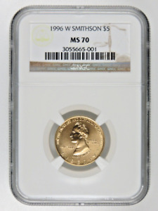 1996 W Smithsonian Institution Gold $5 NGC MS70