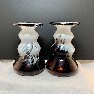 Vintage Guldkroken Glashytta Hjo brown/white candlestick pair 11.5x7.5cm Sweden