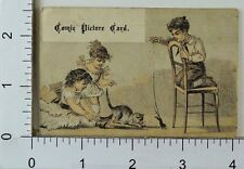 Comic Picture Card Boy Dead Mouse On String Cat Chase Two Adorable Girls F73