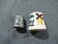 Vintage Holland MI decorated with mills metal & pottery thimbles