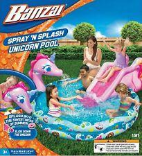 Banzai Spray 'N Splash Unicorn Inflatable Kiddie Pool Water Play Center w/ Slide