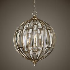 Crystal Sphere Round Pendant Chandelier | Gold Champagne