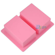 2 Cavities Rectangle Soap Chocolate Ice Cube Tray Cake Bake Mold Silicone Mould