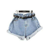 Fashion Women Girl High Waisted Oversize Crimping Boyfriend Jeans Shorts Pants