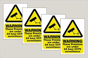 4 x CCTV Signs 24HR Surveillance S/A Stickers/Signs 100x150mm Free 1st class P&P