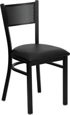 Lot of 20 Metal Perforated Back Restaurant Chairs with Black Vinyl Seat