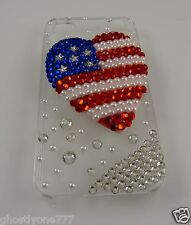 For Iphone i phone 4 4S All American Heart US Flag Bling crystal case Patriotic