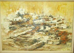 AHUVA SHERMAN LARGE ORIGINAL OIL ON CANVAS JERUSALEM TOWN LANDSCAPE PAINTING
