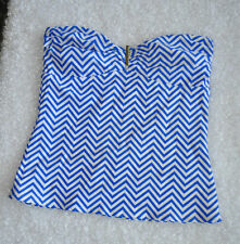 Old Navy Tankini Swim Suit Top Strapless Zig Zag Pattern Blue White Size Large