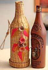 VINTAGE GORGEOUS WOVEN WICKER STRAW WINE BOTTLE PICNIC CASE CARRIER BOX. FRANCE