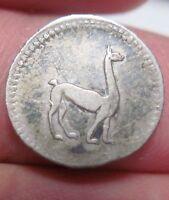 1845 (LIMA -PERU) 1/4 REAL (SILVER) --NICE COIN  (LLAMA) - very scarce year----