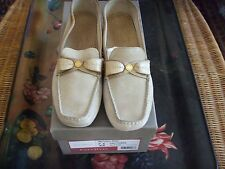 New Cole Haan Bryony Moc's Salt Suede Sz 7.5 AA Gold Tone Leather Bows Women's S