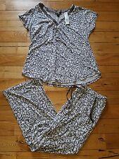 NEW Women's Grey Midnight CAROLE HOCHMAN Modal S/S Top Pants Pajama Set Size M