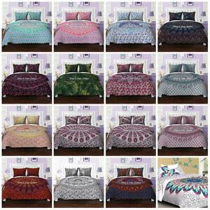 Indian Mandala Quilt Duvet Cover Bedding Cotton Queen Size Doona Cover Bed Set