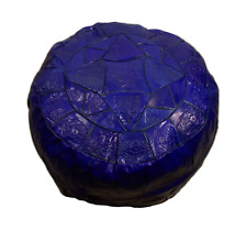 Handmade Vivid Blue Genuine Leather Ottoman Pouf