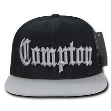 Black & Gray Compton Vintage Eazy E NWA Dre Cube Flat Bill Snapback Ball Cap Hat