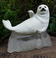 Vtg White Snow Pup Seal Figurine Frosted Glass Ice Base Arctic Ocean Wildlife