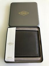 New Mens Authentic Fossil Designer Genuine Leather Bi Fold Card Wallet Gray