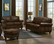 Traditional Living Room 2-Piece 100% Leather Sofa Loveseat Couch Set Brown