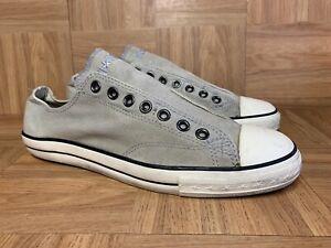 Vintage🔥 Converse John Varvatos Distressed Laceless Washed Gray Slip On Sz 10