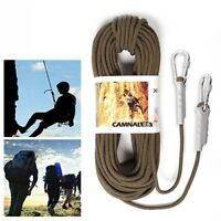 12KN 10m Tree Rock Climbing Rescue Auxiliary Rope Cord + 2 Carabiners Gear SAFE