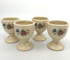 Egg Cup Holder Set 4 Art Pottery Floral Decor Easter Country Kitchen Decor Vtg