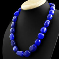 631.50 CTS EARTH MINED RICH BLUE SAPPHIRE BEADS SINGLE STRAND NECKLACE - ON SALE