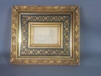 Petit cadre Napoleon III doré & noir 22x19 cm, feuillure: 10x7,5cm Dessin offert