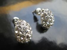 GLAMOROUS  SPARKLING TWINKLING SILVER DIAMANTE OVAL CLUSTER DROP STUDS EARRINGS