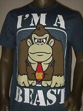 New Mens Large Blue Donkey Kong Gorilla I'm A Beast Nintendo Game Logo Tee Shirt