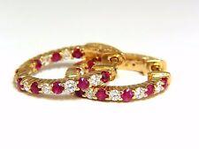 1.33ct natural ruby diamonds alternated hoop earrings 14kt+