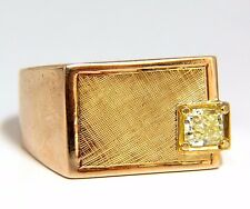 .47ct natural fancy yellow princess cut diamond mens ring 14kt+