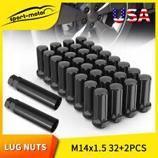 32Pcs Black 14x1.5 Spline Lug Nuts For Chevy GMC Silverado Sierra 1500 + 2 Keys