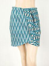 Torn by Ronny Kobo Lilo Basketweave Print Tulip Pencil Skirt Aqua M $254 8953
