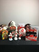 (Lot Of 19) Vintage Coca-Cola Collectibles! Figurines Tins Globe Plates  Bottles