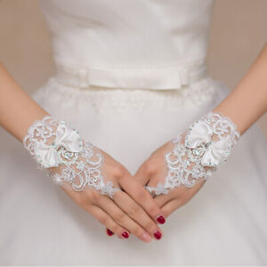 Short Lace Floral Rhinestone Bowknot Fingerless Wedding Party Bridal Gloves T`SG